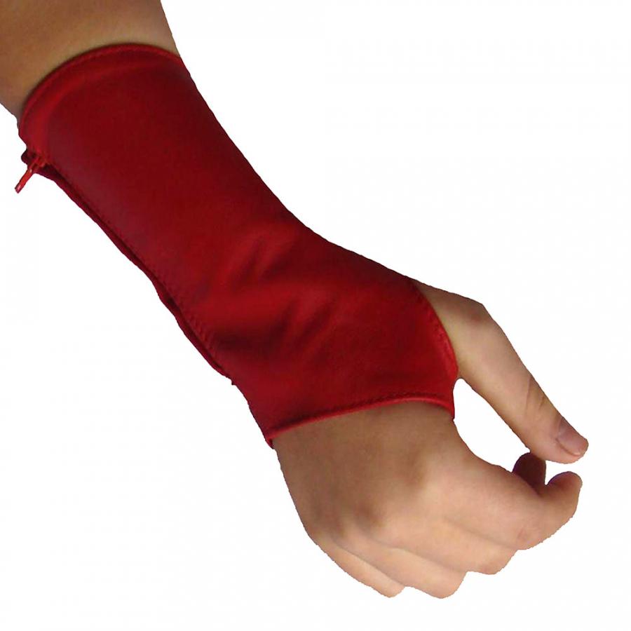 Armstulpen Armschützer Damen rot echtes Nappa Leder kurz fingerfrei Ledapol 5266