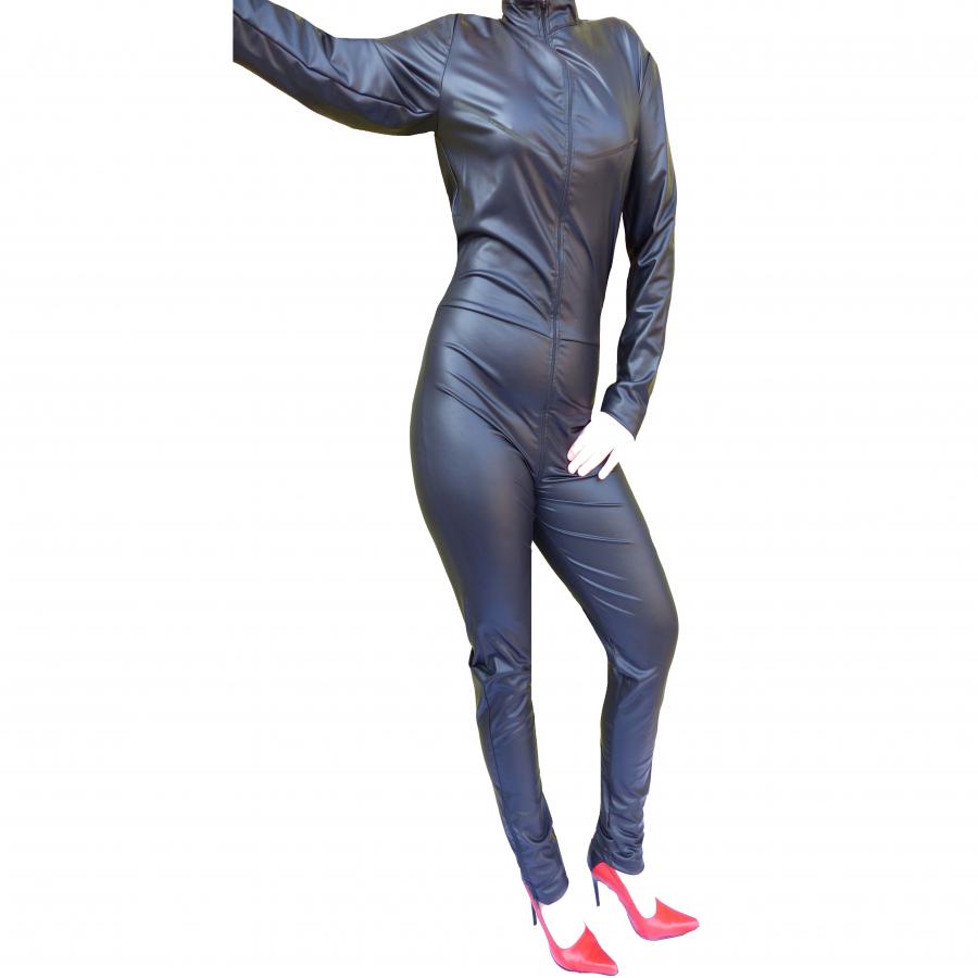 Brust Reißverschluss Cupless Catsuit Wetlook Damen Arme Bein lang schwarz  CAT 999 RV