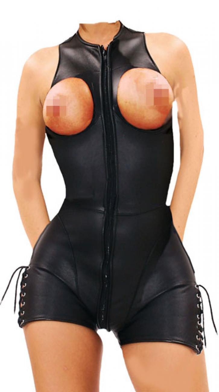 Anzug Echtes Leder Cupless Overall Catsuit Ouvert Brust frei WT 0857