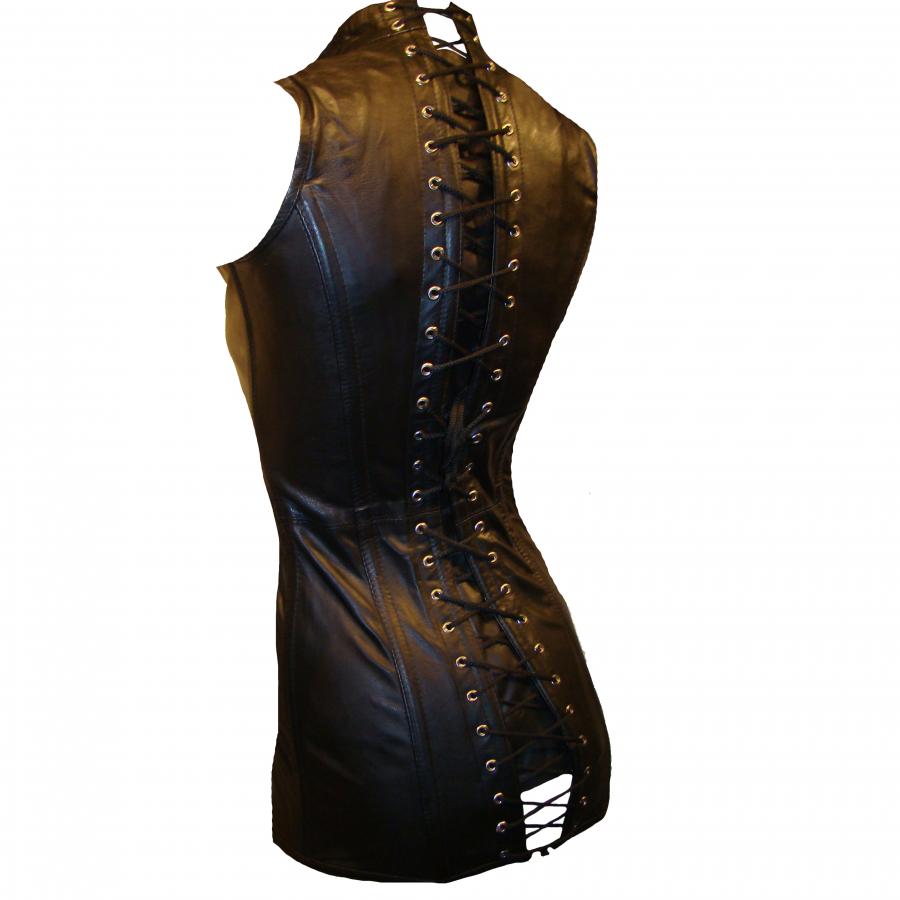 Lederkorsett Mini Kleid Korsett Nappa Leder Schür Vollbrust Stehkragen Reißverschluss schwarz 2278