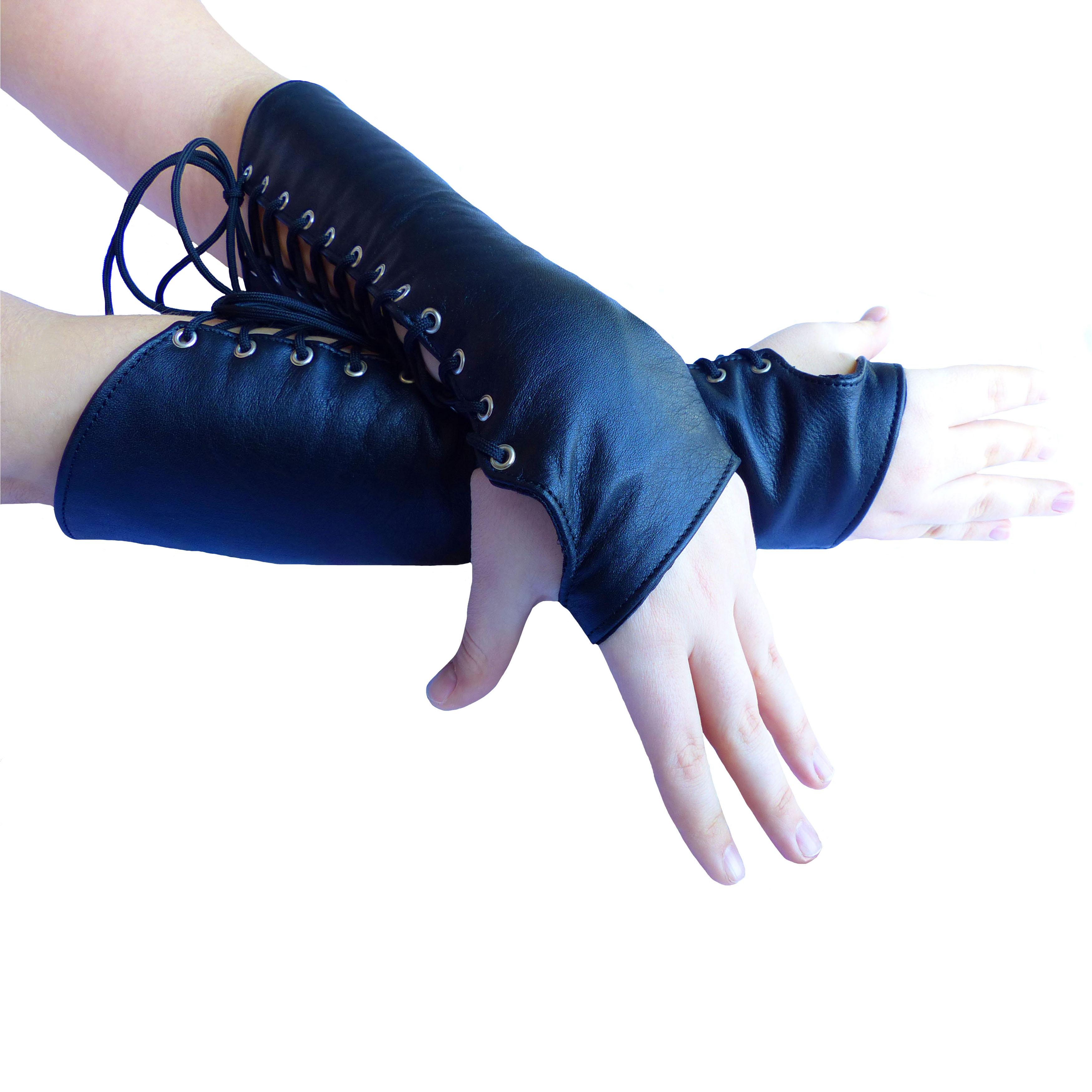 S SCHWARZ Ledapol 102C leder Armstulpen Handschuhe mit Schnürung Futter Gr
